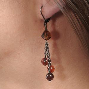Set bijuterii GANELLI - colier cu pandantiv statement, bratara si cercei din pietre semipretioase Agate Eye3