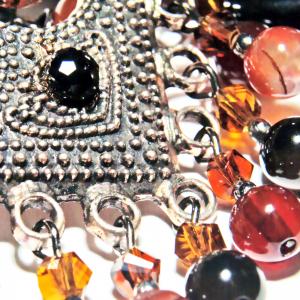 Set bijuterii GANELLI - colier cu pandantiv statement, bratara si cercei din pietre semipretioase Agate Eye4