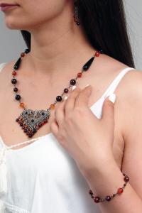 Set bijuterii GANELLI - colier cu pandantiv statement, bratara si cercei din pietre semipretioase Agate Eye6