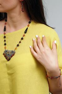Set bijuterii GANELLI - colier cu pandantiv statement, bratara si cercei din pietre semipretioase Agate Eye5
