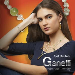 Set bijuterii GANELLI Statement- colier, bratara, cercei din pietre semipretioase Agate braziliene, Jad Serpentin, Perle naturale de cultura3