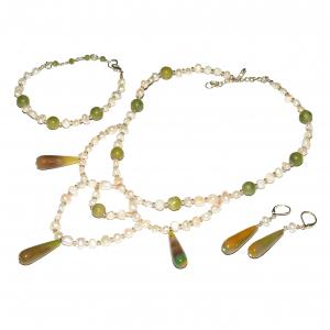 Set bijuterii GANELLI Statement- colier, bratara, cercei din pietre semipretioase Agate braziliene, Jad Serpentin, Perle naturale de cultura0