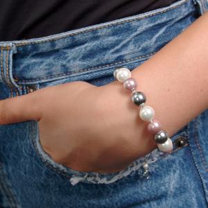 Set bijuterii GANELLI Perle Mallorca - colier, bratara, cercei (argintiu-lila)3