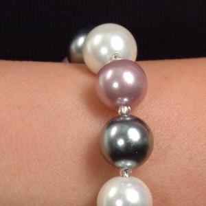 Set bijuterii GANELLI Perle Mallorca - colier, bratara, cercei (argintiu-lila)2