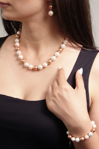 Set bijuterii GANELLI Perle Mallorca - colier, bratara, cercei (roz-aramiu)5