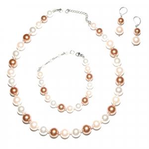 Set bijuterii GANELLI Perle Mallorca - colier, bratara, cercei (roz-aramiu)0