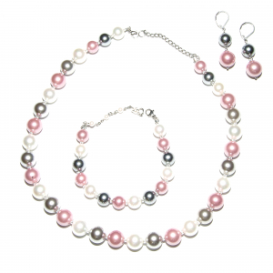 Set bijuterii GANELLI Perle Mallorca - colier, bratara, cercei (argintiu-lila)0