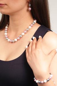 Set bijuterii GANELLI Perle Mallorca - colier, bratara, cercei (argintiu-lila)7