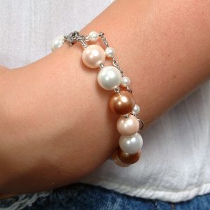 Set bijuterii GANELLI Perle Mallorca - colier, bratara, cercei (roz-aramiu)2