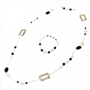 Set bijuterii GANELLI- colier lung si bratara din pietre semipretioase Onix negru, Onix alb, Sidef0