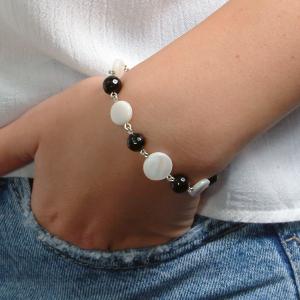 Set bijuterii GANELLI- colier lung si bratara din pietre semipretioase Onix negru, Onix alb, Sidef1