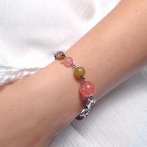 Set bijuterii GANELLI- colier lung, bratara, cercei din pietre semipretioase Piatra Dragonului, Cuart cherry3