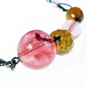 Set bijuterii GANELLI- colier lung, bratara, cercei din pietre semipretioase Piatra Dragonului, Cuart cherry5