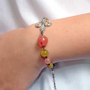 Set bijuterii GANELLI- colier lung, bratara, cercei din pietre semipretioase Piatra Dragonului, Cuart cherry2