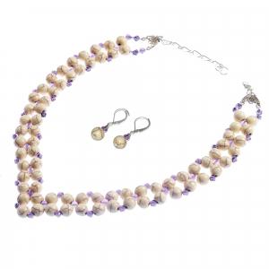 Set bijuterii GANELLI Statement handmade - Colier în V și Cercei Chandelier din Howlit si Ametist