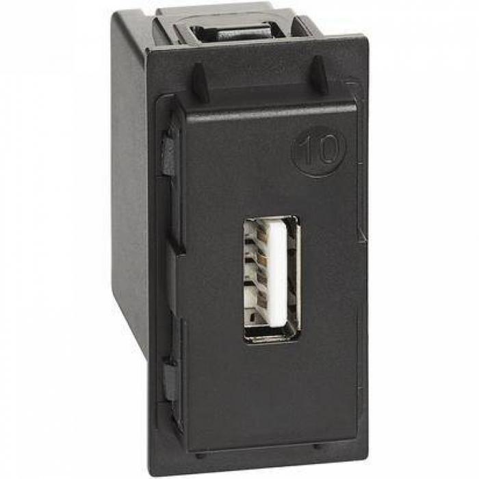 Priza USB / Incarcator 5V 1500mA Bticino Living NOW Negru K4285C1 [0]