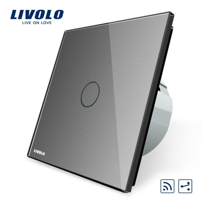 Intrerupator cap scara / cap cruce wireless cu touch Livolo din sticla [2]