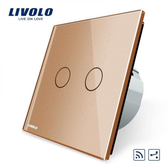 Întrerupător Dublu cap scară/ cruce wireless cu touch LIVOLO [1]