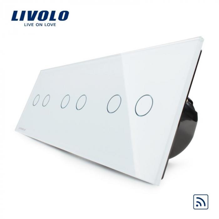 Întrerupător Dublu + Dublu + Dublu Wireless cu touch Livolo din sticla [3]