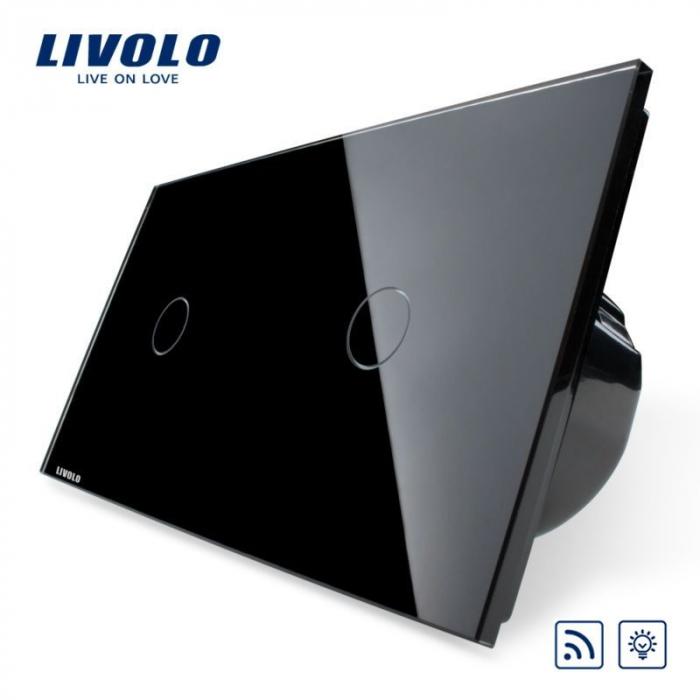 Întrerupător Simplu + Simplu Dimabil Wireless cu touch Livolo din sticla [1]