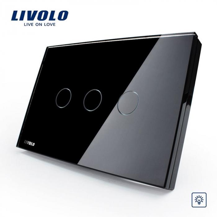 Întrerupător Triplu Dimabil cu touch Livolo din sticla [1]
