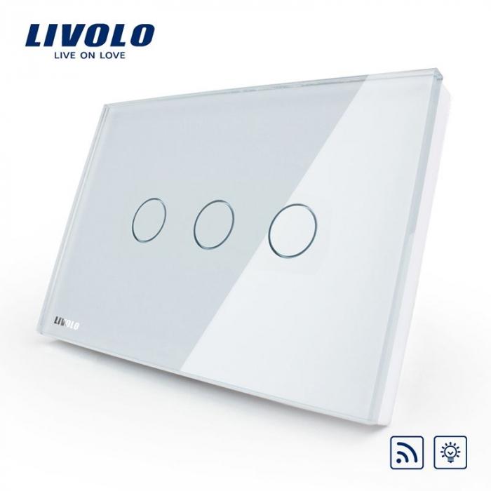 Întrerupător Triplu Dimabil Wireless cu touch Livolo din sticla [0]