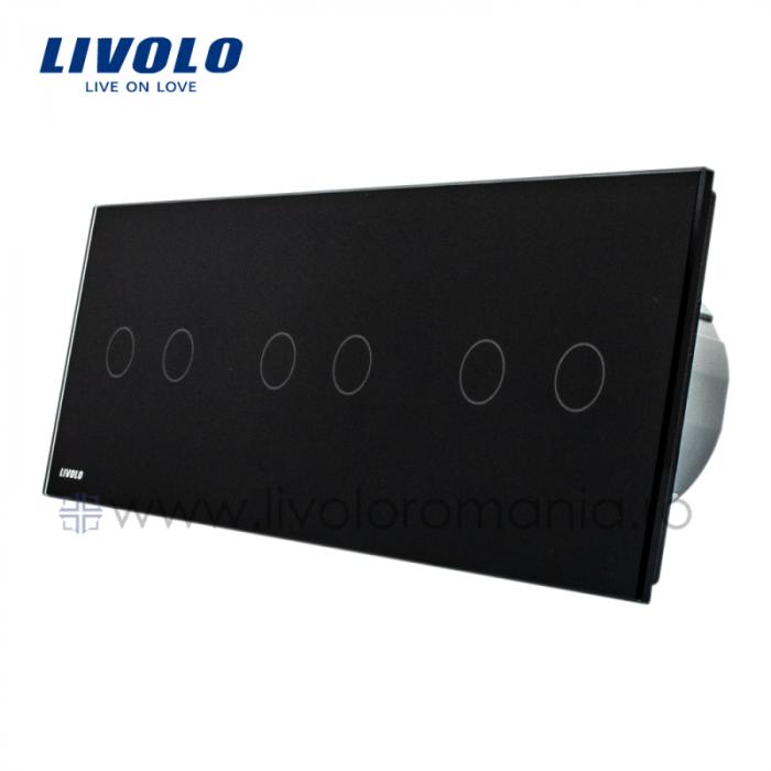 Întrerupător Dublu + Dublu + Dublu Wireless cu touch Livolo din sticla [0]