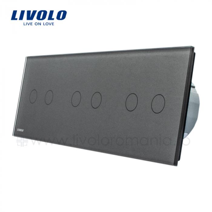 Întrerupător Dublu + Dublu + Dublu Wireless cu touch Livolo din sticla [1]