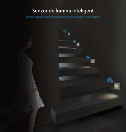 Lampa de veghe LED LIVOLO cu rama din sticla - Senzor miscare incorporat [4]