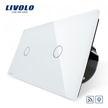 Întrerupător Simplu + Simplu Dimabil Wireless cu touch Livolo din sticla [0]