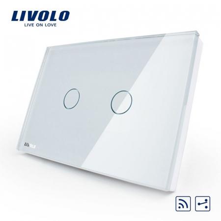 Intrerupato Dublu  cap scara/cruce Wireless cu touch Livolo din sticla [0]