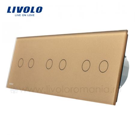 Întrerupător Dublu + Dublu + Dublu Wireless cu touch Livolo din sticla [2]