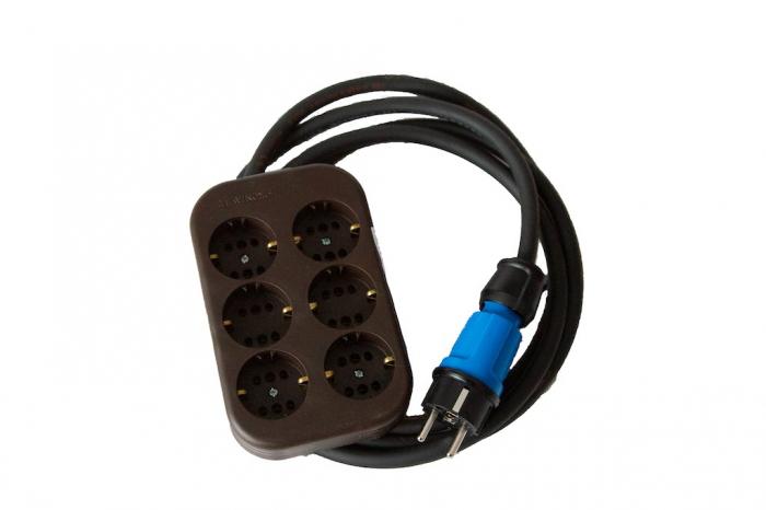 Prelungitor cu multipriza Kontavill Legrand cu 6 intrari, stecher si cablu cauciucat H07RN-F de 1m 3x1,5mm [0]