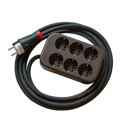 Prelungitor cu multipriza 6 intrari, cablu cauciucat Titanex 1m, 3x1,5mm [0]