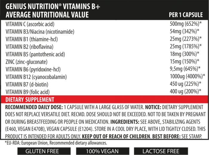 Vitamins B+ (60 Servings/60caps) 1