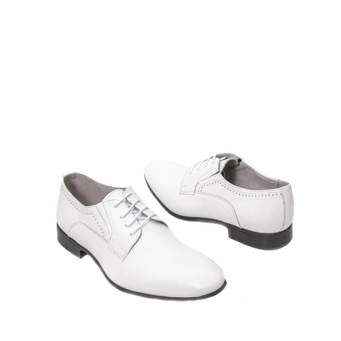 Pantofi barbati eleganti piele naturala Catali 192545 alb 2
