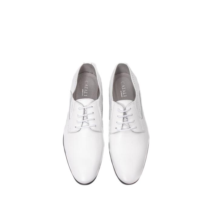 Pantofi barbati eleganti piele naturala Catali 192545 alb 5