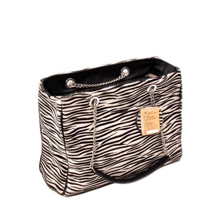 Poseta blana naturala ,Zebra By YSL 0
