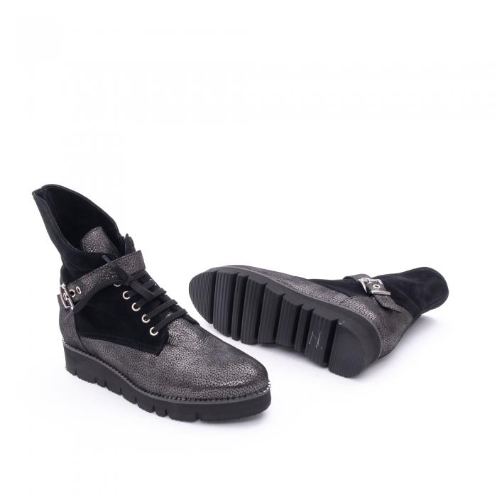 Ghete dama casual cu talpa groasa Nike Invest G1159, negru-argintiu 2
