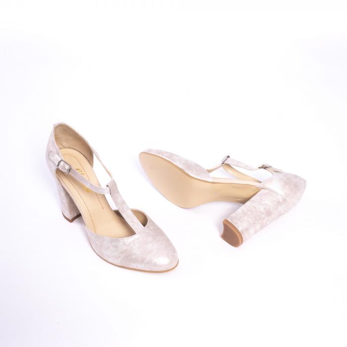 Pantofi dama eleganti decupati piele Nike invest s1041, alb auriu 3