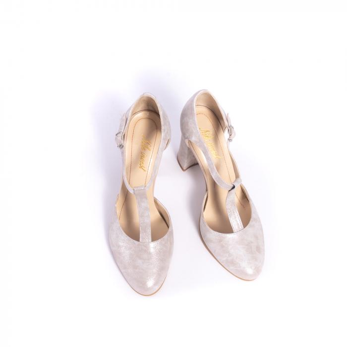Pantofi dama eleganti decupati piele Nike invest s1041, alb auriu 5