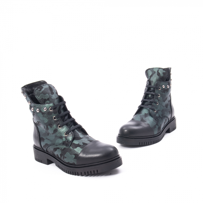Ghete dama piele naturala Catali Army 182862 verde 1