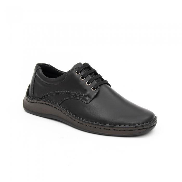 Pantofi barbati casual piele naturala, Leofex 918, negru 0