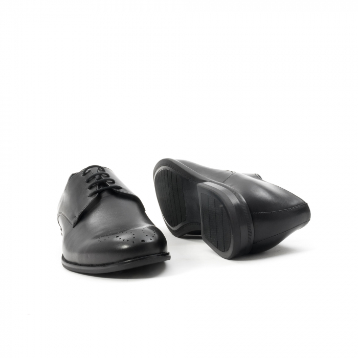 Pantofi barbati eleganti, piele naturala, Leofex 898, negru 3