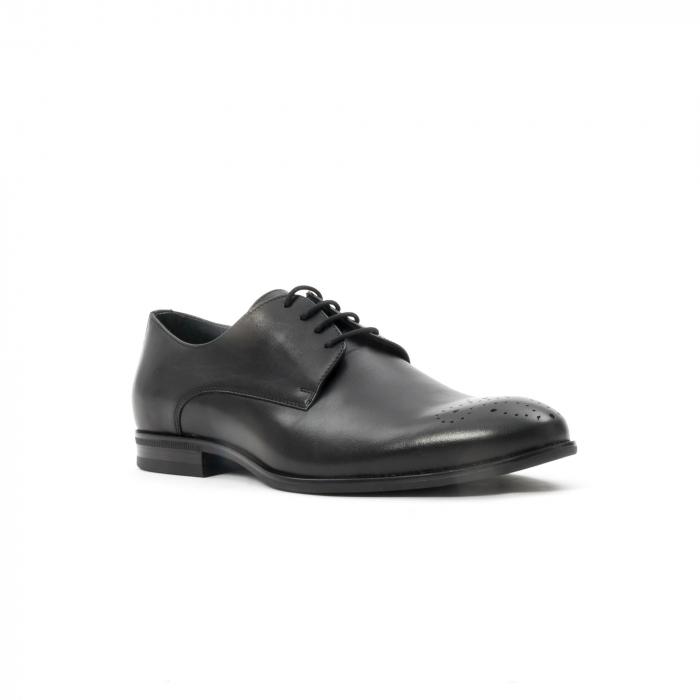 Pantofi barbati eleganti, piele naturala, Leofex 898, negru 0