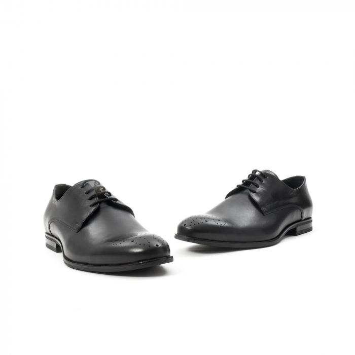 Pantofi barbati eleganti, piele naturala, Leofex 898, negru 1