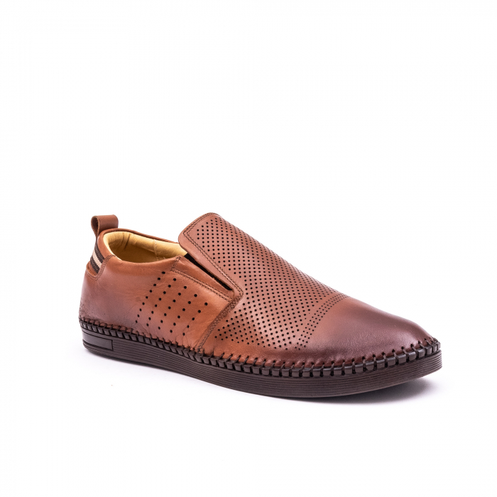 Pantofi barbati casual piele naturala Catali 191543, coniac 0
