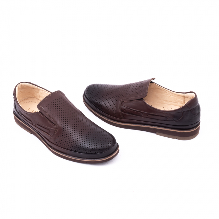 Pantofi barbati casual piele naturala, Catali 191537, maro 3