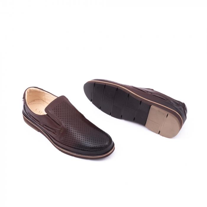 Pantofi barbati casual piele naturala, Catali 191537, maro 2