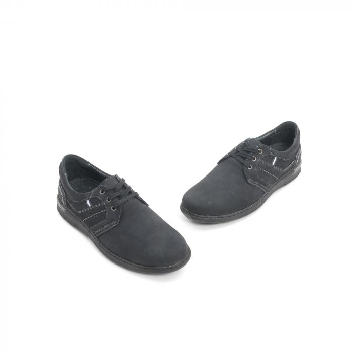 Pantofi barbati casual piele naturala nabuc Leofex 521, negru 1